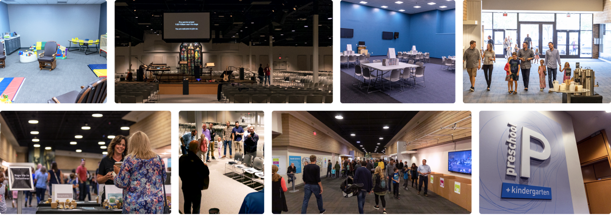 Collage of images showing various Mars Hill facilities including activity rooms, hallways, entrances, main congregation area, preschool, staff, participants, and interactions